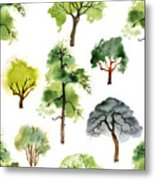 Seamless Pattern With Watercolor Trees Metal Print