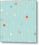 Seamless Vintage Winter Pattern Metal Print