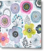 Seamless Watercolor Abstraction Floral Metal Print