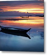 Seashore With Longtail Boats At Sunset Metal Print