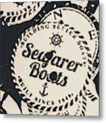 Seaside Sailors Badge Metal Print