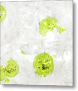 Seasons Greetings - Frosty White With Chartreuse Accents Metal Print