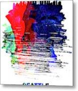Seattle Skyline Brush Stroke Watercolor   Metal Print