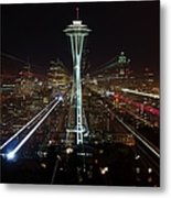 Seattle Skyline Laser Show Metal Print