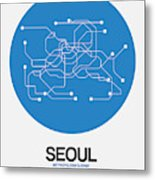 Seoul Blue Subway Map Metal Print