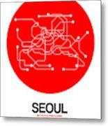 Seoul Red Subway Map Metal Print
