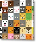 Set Of Cute Simple Animal Faces Metal Print