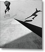 Shadow Of Skateboarder Metal Print