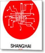 Shanghai Red Subway Map Metal Print