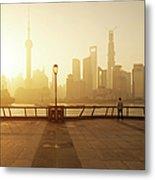 Shanghai Sunrise At Bund With Skyline Metal Print