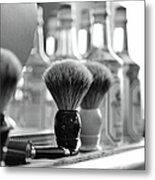 Shaving Brushes At Barbershop Metal Print