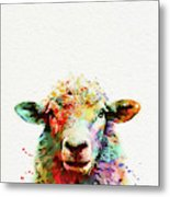 Sheep Portrait Metal Print