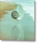 Shell Reflections In The Sand In The Soft Dawn Metal Print