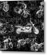 Shiny Bikes Galore In Black And White Metal Print