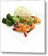 Shrimp Stir Fry On Plate On White Metal Print