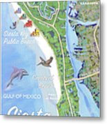 Siesta Key Illustrated Map Metal Print