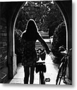 Silhouette Of College Co-ed Walking Her Metal Print