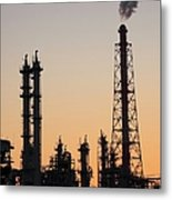 Silhouette Of Petrochemical Plant Metal Print