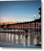Silhouette Of Surfer At Huntington Metal Print