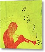 Silhouette Of Trumpet Player Metal Print