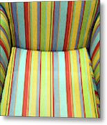 Sitting On Stripes Metal Print