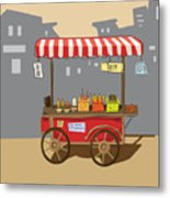 Sketch Of Street Food Carts, Cartoon Metal Print