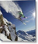 Skier In Midair On Snowy Mountain Metal Print