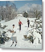 Skiing Waiters Metal Print