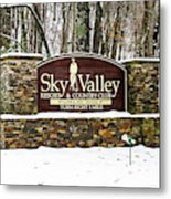 Sky Valley Georgia Welcome Sign In The Snow Metal Print
