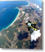 Skydive Wing Suit Over Brazilian Beach Metal Print