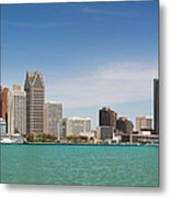 Skyline Of Detroit By Day Metal Print