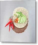 Sliced Avocado And Peppers With Grains Metal Print