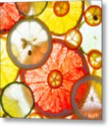 Sliced Citrus Fruits Background Metal Print