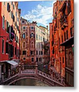 Small Canals In Venice Italy Metal Print