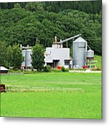 Small Factory Between Green Field And Metal Print