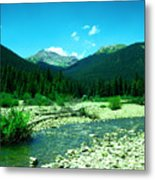 Small Stream Foreground The Rockies Metal Print