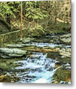 Small Waterfall In Creek And Stone Stairs Metal Print