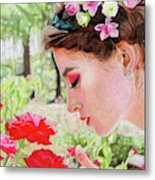Smelling The Roses Metal Print