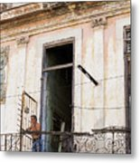 Smoker On Balcony In Cuba Metal Print