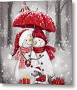 Snowmen With Umbrella 4 Metal Print