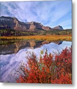 Sofa Mountain Reflecteion, Waterton Metal Print