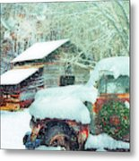 Softly Snowing On The Country Farm Metal Print