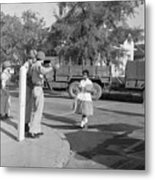 Soldiers Stopping African American Girl Metal Print