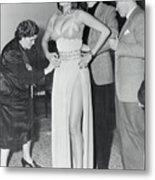 Sophia Loren Being Helped To Dress Metal Print