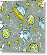 Space Print. Rocket, Flying Saucer Metal Print
