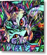 Sparky The Stained Glass Kitten Metal Print