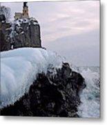 Split Rock Lighthouse Winter Metal Print