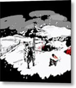 Spots In Snow In Black And White  Metal Print