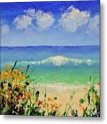 Spring Flowers And Sea And Clouds Metal Print