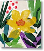 Spring Garden Yellow- Floral Art By Linda Woods Metal Print